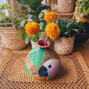 Vintage Tropical Hand Painted Parrot Jungle Vase